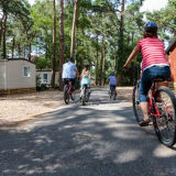 Family cycling in Sandy Balls resort, New Forest