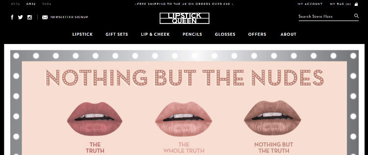 Lipstick Queen website screen shot