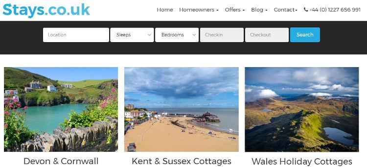 Stays.co.uk homepage screenshot