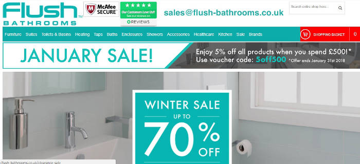 Flush Bathrooms web store screen shot