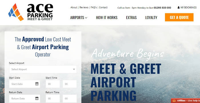 Ace Airport Parking site preview