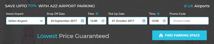 A2Z Airport Parking Booking Bar