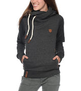 Female model in Naketano hooded fleece