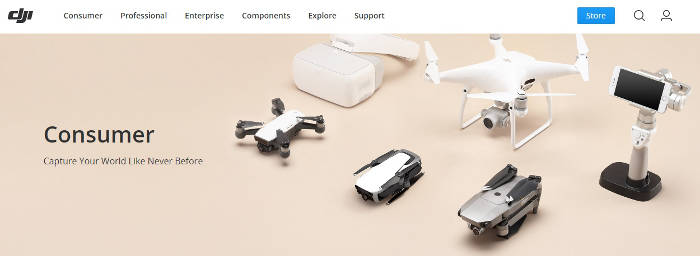DJI website preview of consumer level drones