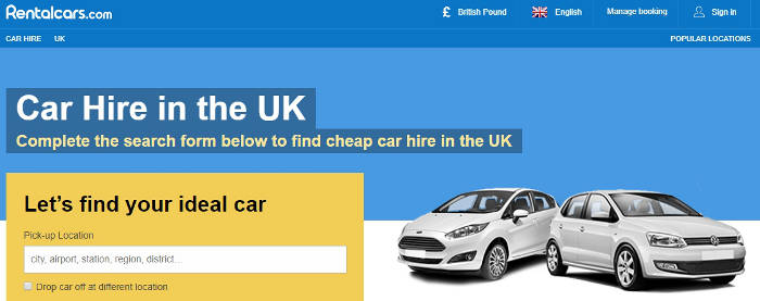 Rentalcars UK site preview