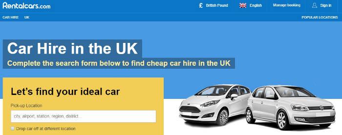 Rentalcars UK site preview