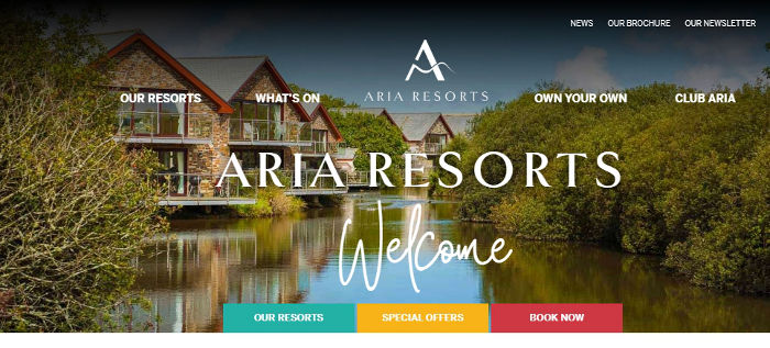 Aria Resorts website preview