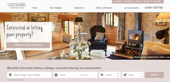 Cornwall Hideaways site preview image