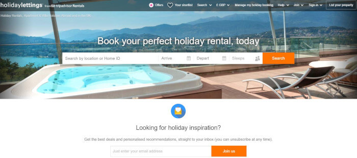 Holiday Lettings UK homepage preview image