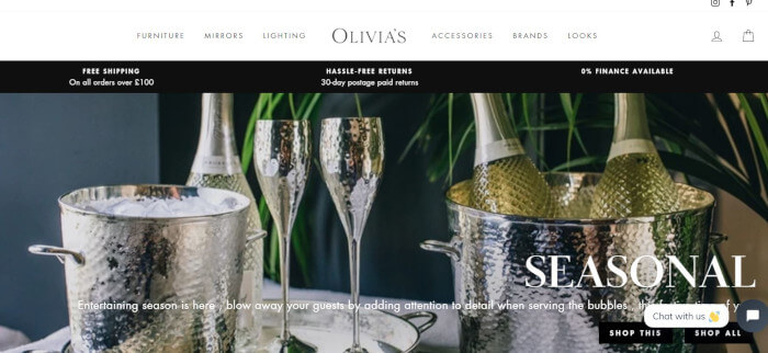 Olivia's homepage preview image